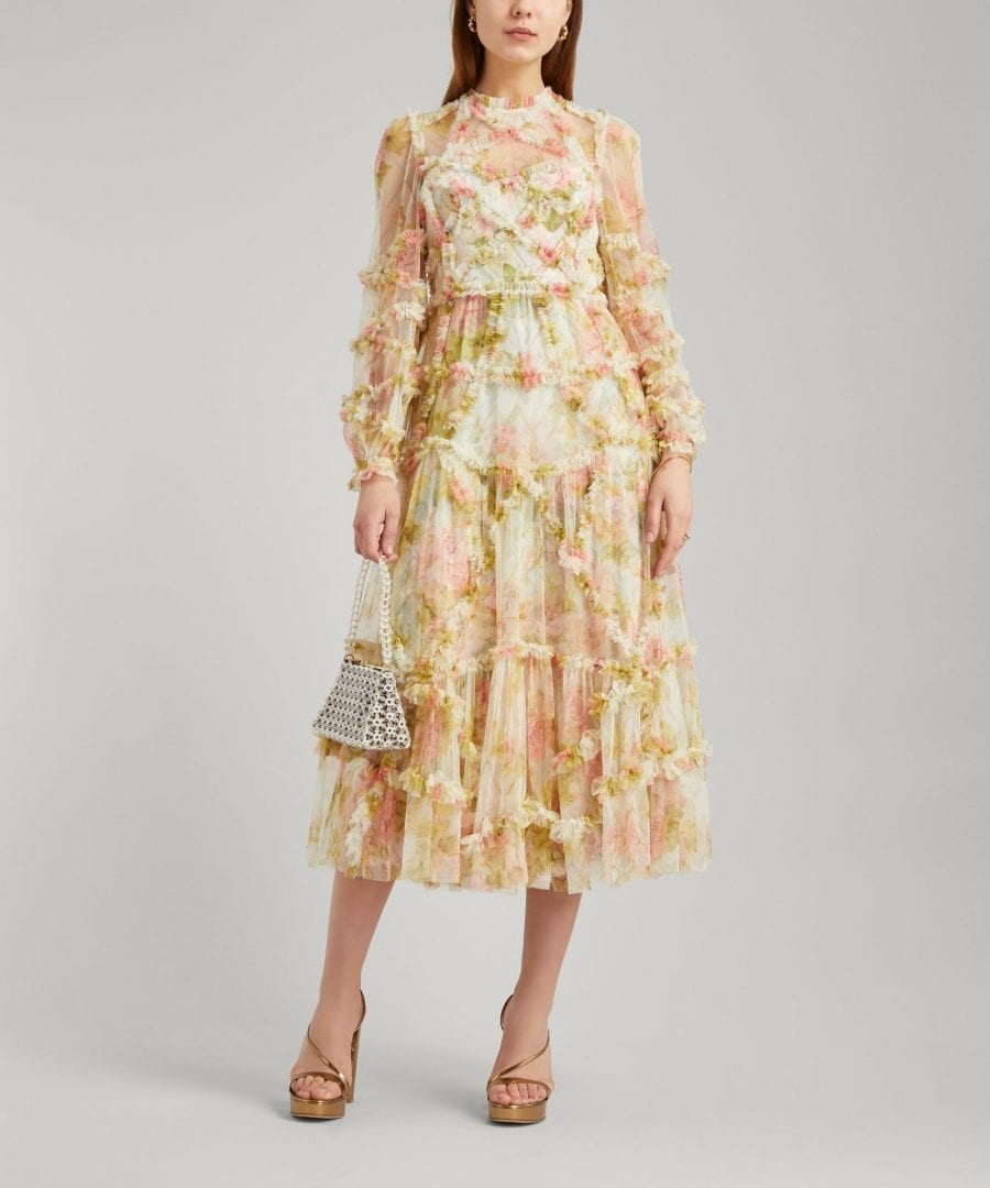 NEEDLE & THREAD Harlequin Rose Ruffle Midi-Dress
