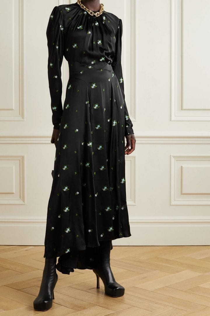 PACO RABANNE Gathered Embroidered Satin Maxi Dress
