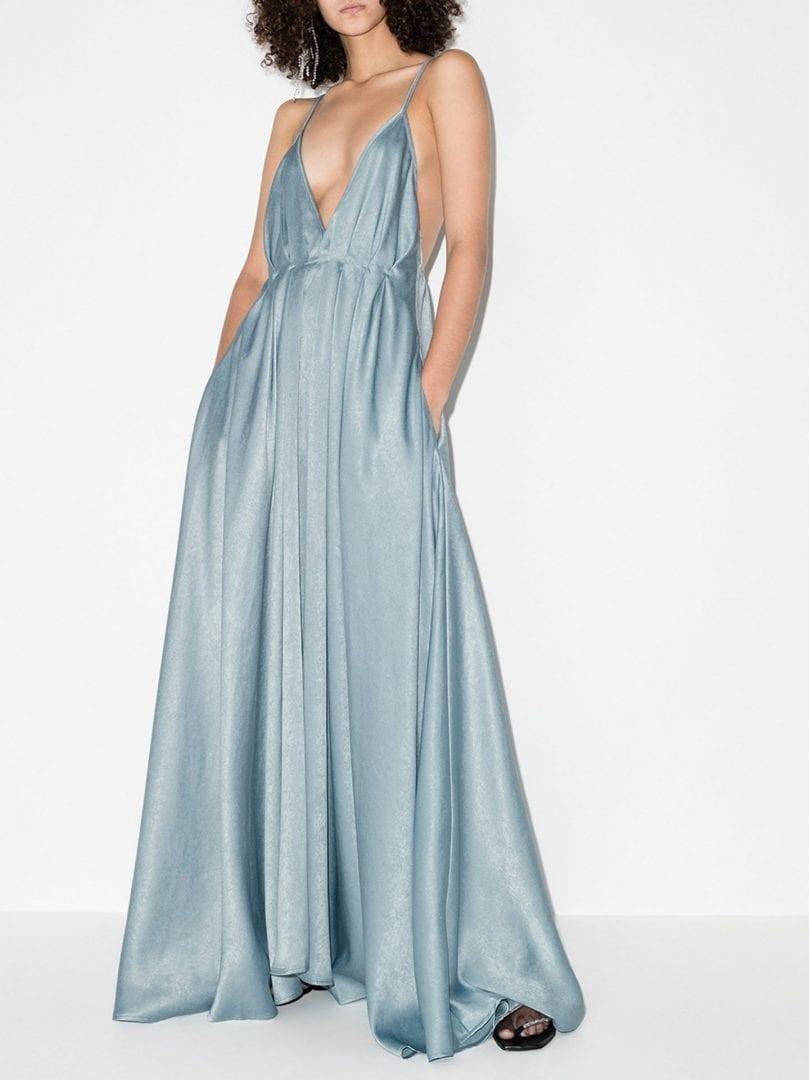 PARIS GEORGIA Bella Plunging V-Neck Silk Gown