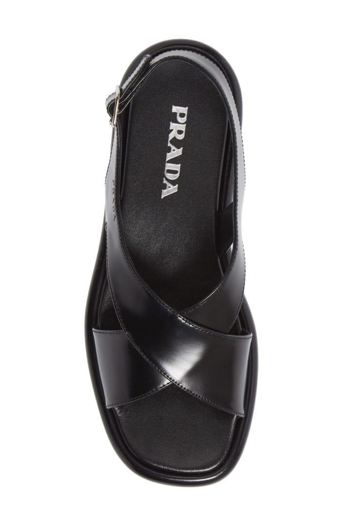 PRADA Cross Strap Platform Sandal