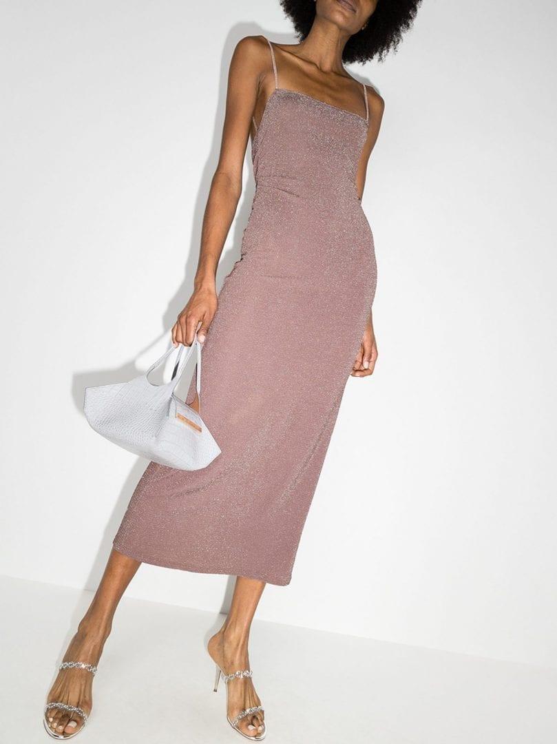 REFORMATION Breslin Metallic Knit Midi Dress