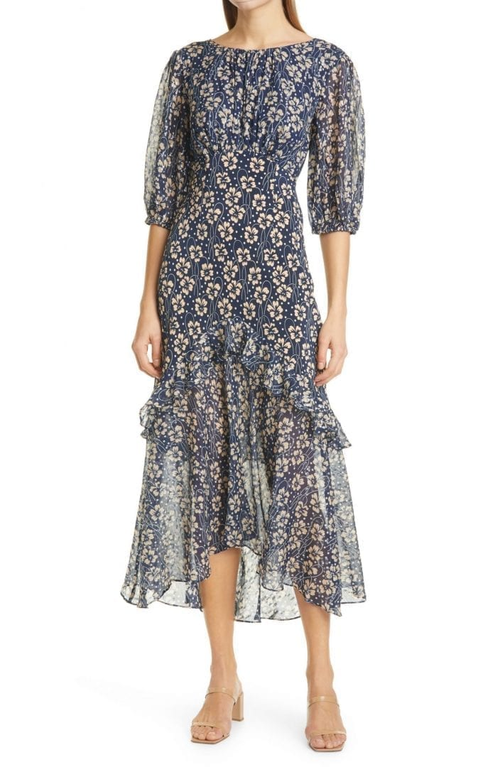 RIXO Cheryl Shimmer Floral Print Silk Empire Waist Midi Dress