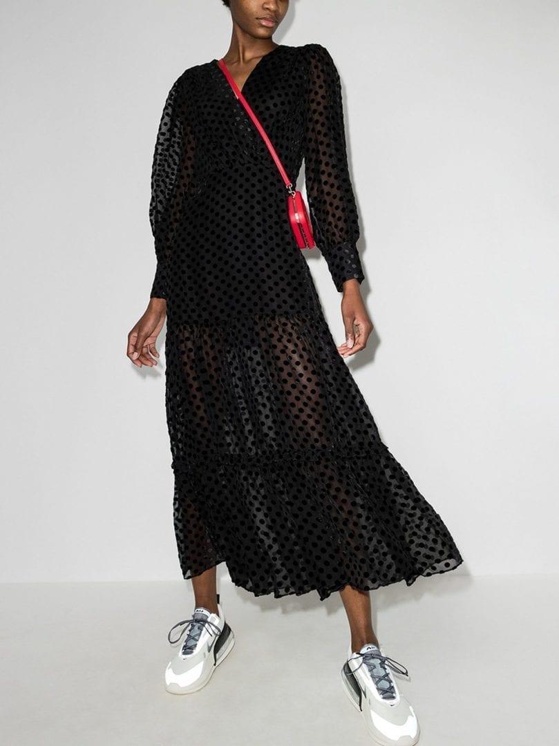 RIXO Elsie Sheer Spot Midi Dress