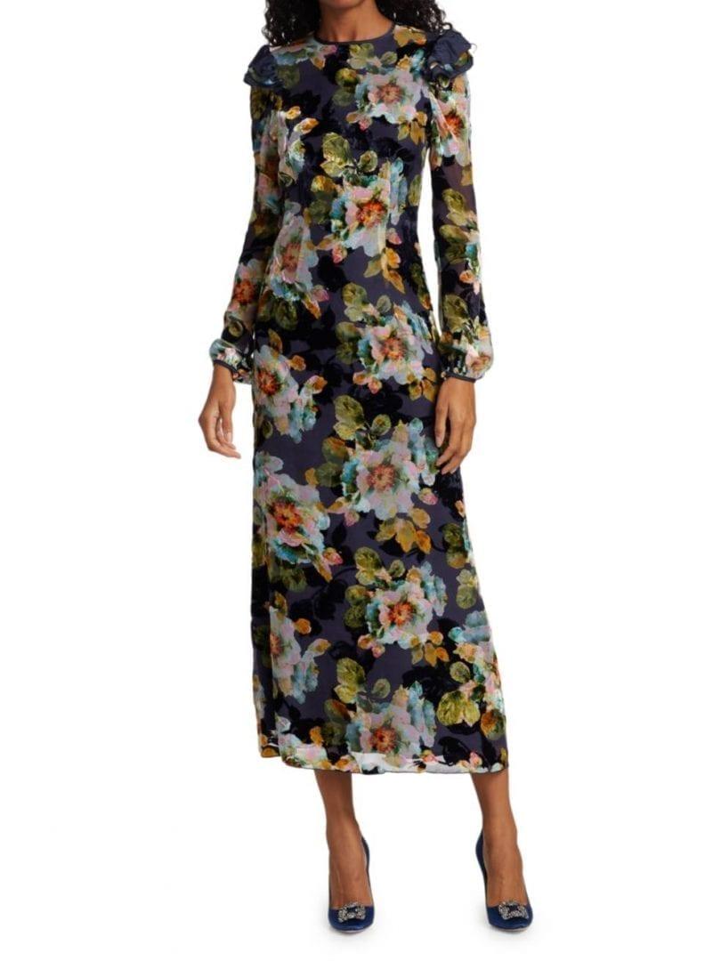 RODARTE Floral Velvet Burnout Ruffle Dress