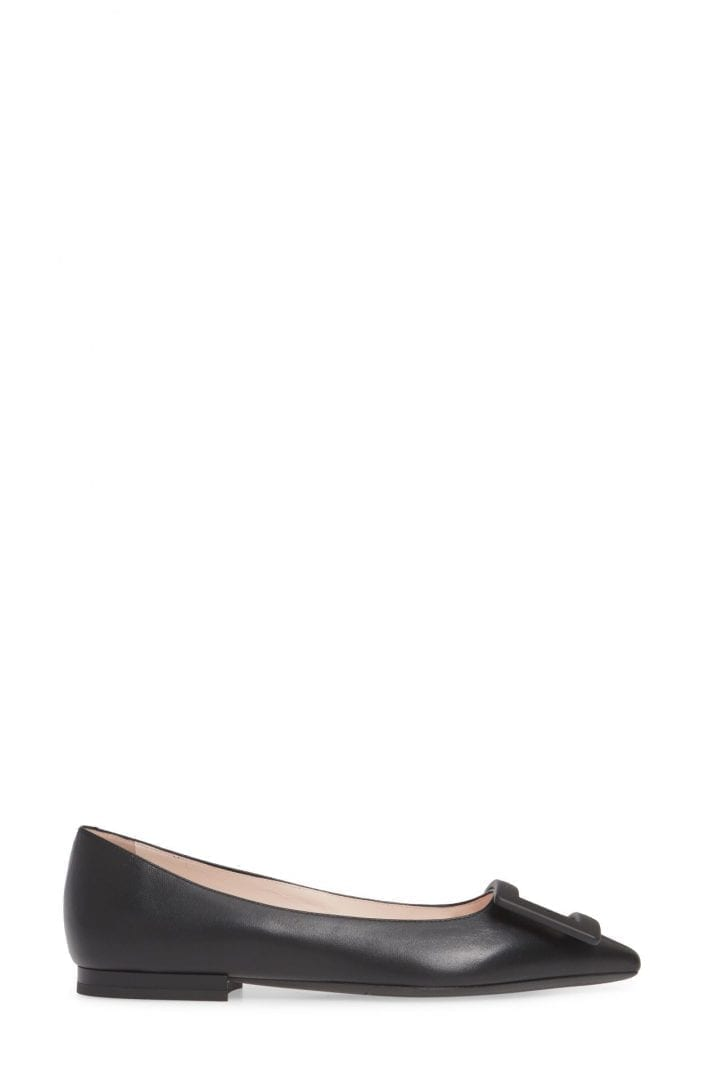 ROGER VIVIER Gommettine Buckle Pointed Toe Flat