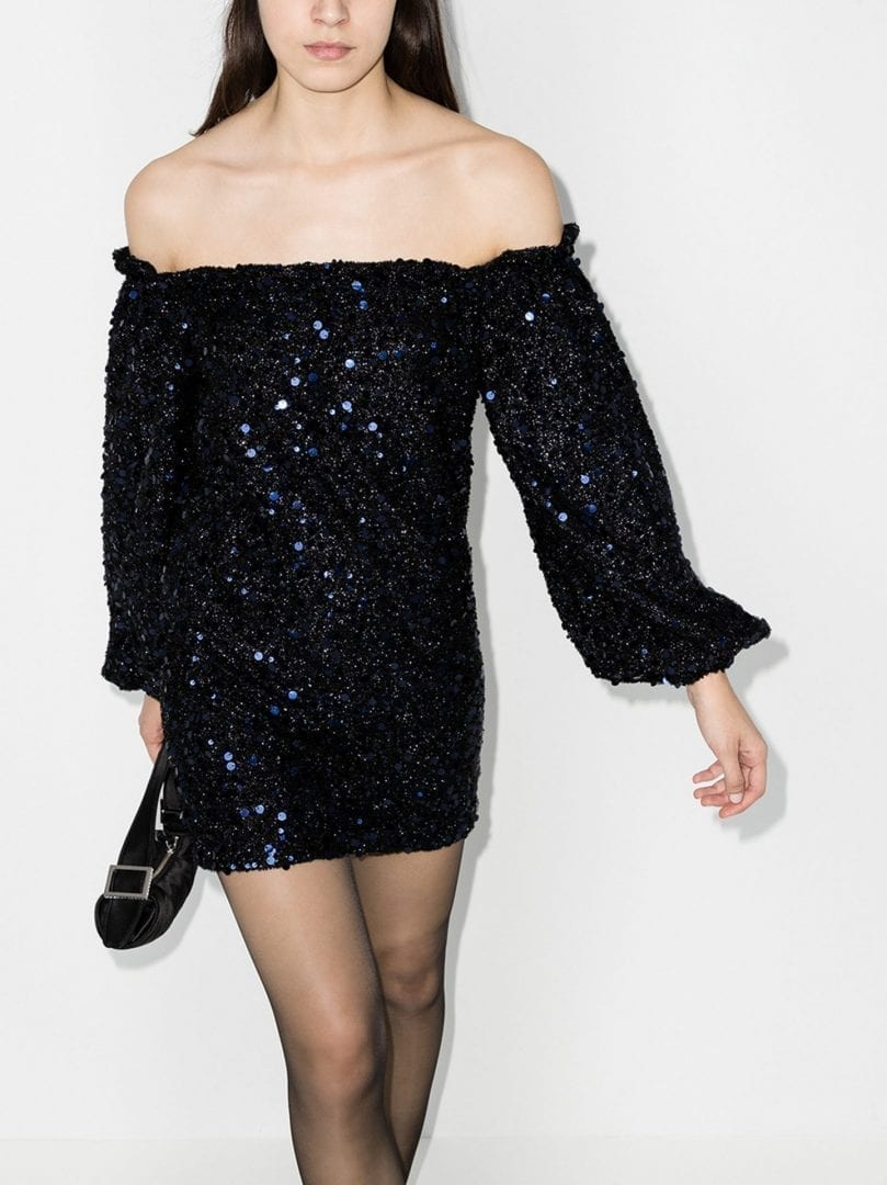 ROTATE Gloria Sequinned Off-The-Shoulder Dress
