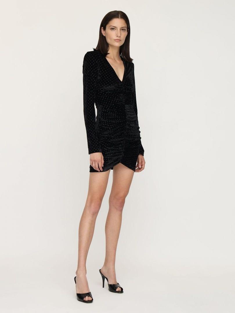 ROTATE Sierra Ruched Velvet Mini Dress