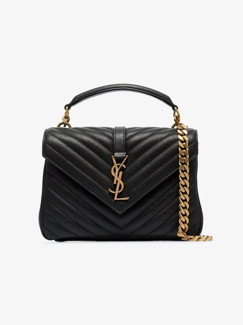 SAINT LAURENT Black College Medium Leather Shoulder Bag