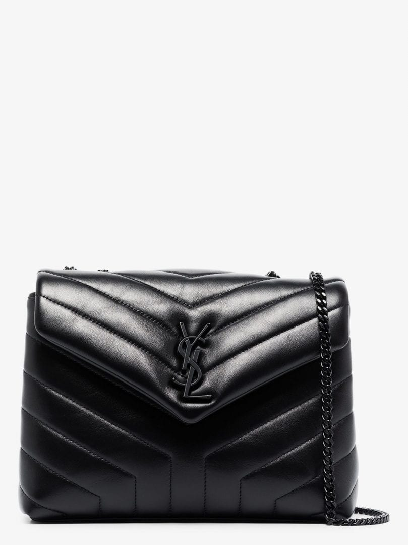 SAINT LAURENT Black Loulou Small Leather Shoulder Bag