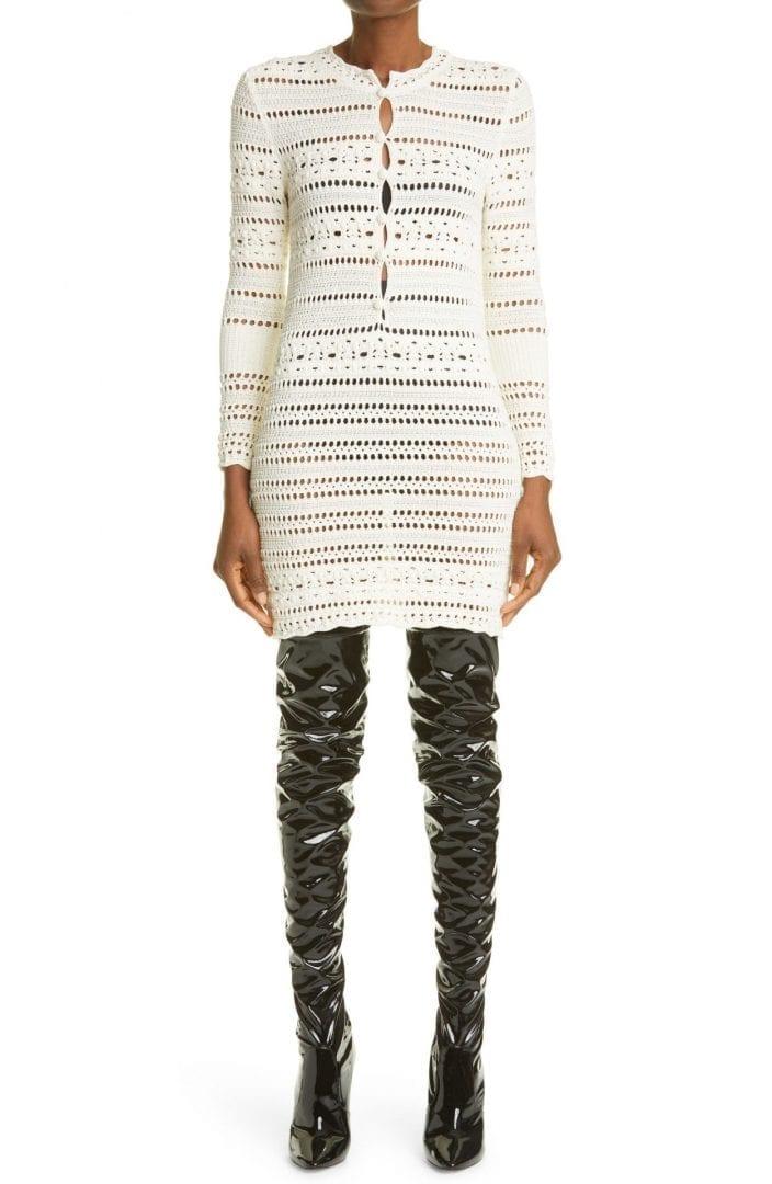 SAINT LAURENT Crochet Long Sleeve Mini Dress