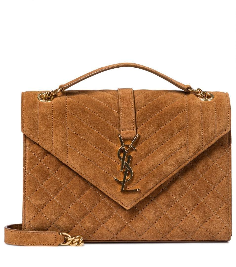 SAINT LAURENT Envelope Medium Suede Crossbody Bag