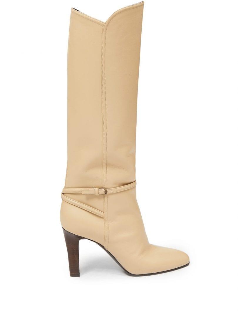SAINT LAURENT Jane Knee-high Leather Boots