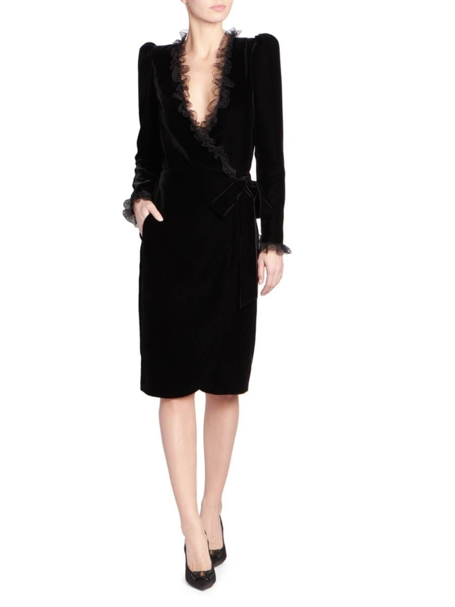 SAINT LAURENT Lace-Trimmed Velvet Wrap Dress