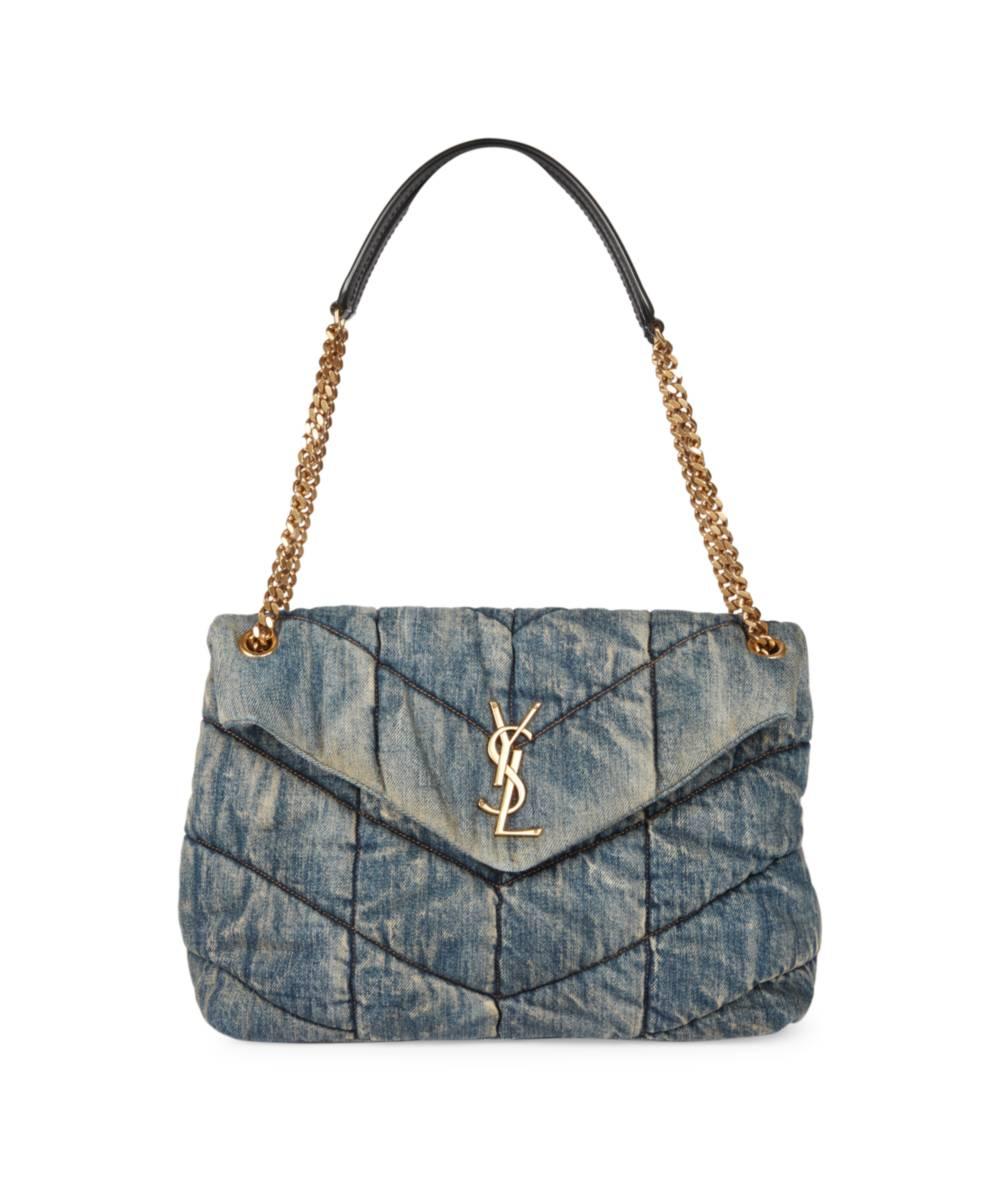 SAINT LAURENT Small Loulou Matelassé Denim Shoulder Bag