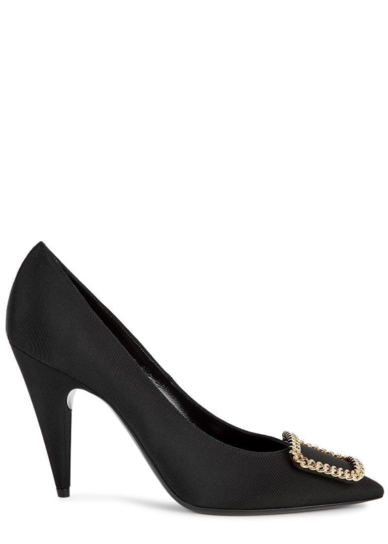 SAINT LAURENT St Suplice 95 Black Grosgrain Pumps
