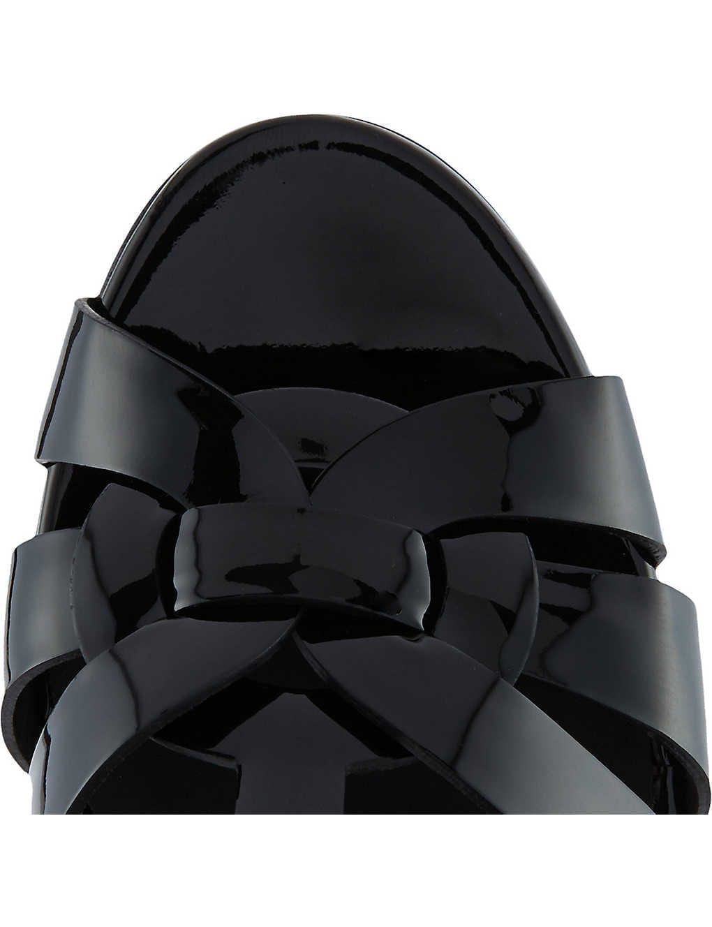 SAINT LAURENT Tribute Patent-leather Platform Sandals