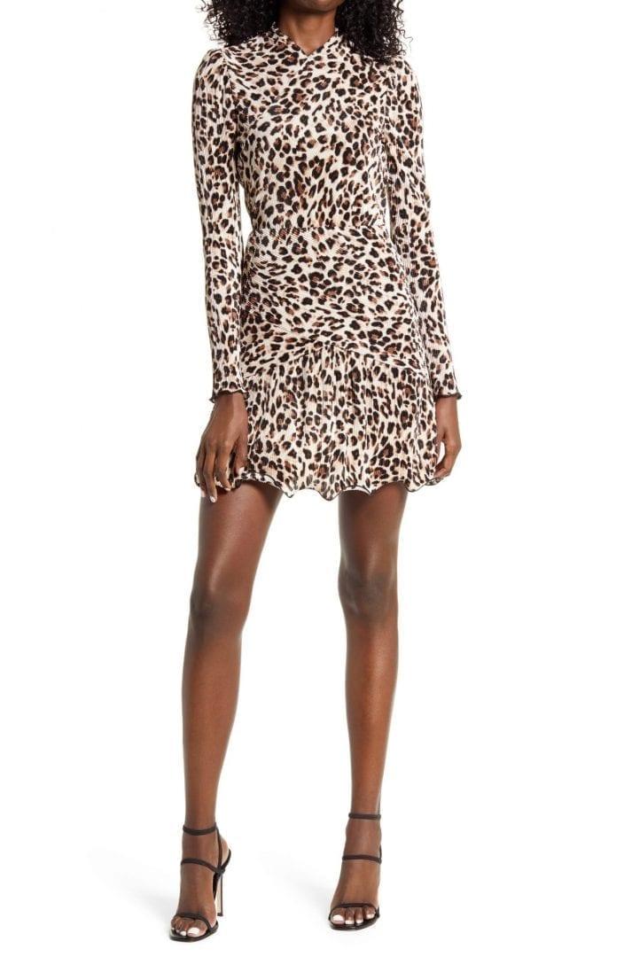 SAYLOR Emerson Animal Print Long Sleeve Mini Dress