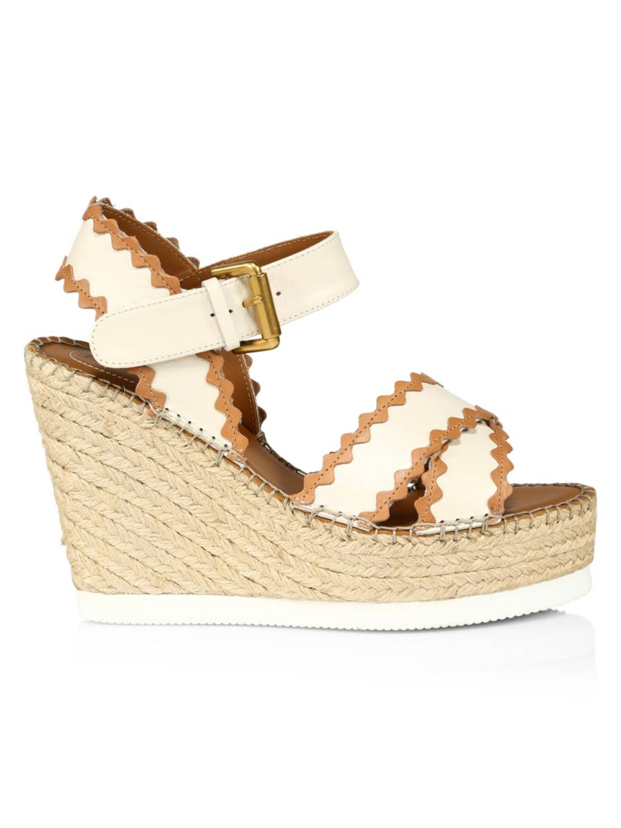 SEE BY CHLOÉ Glyn Leather Platform Espadrille Wedge Sandals