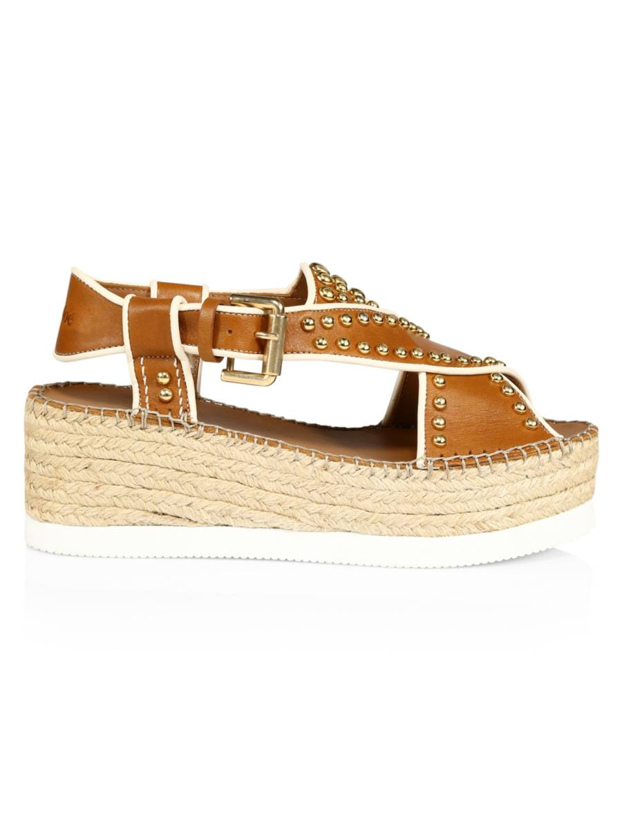 SEE BY CHLOÉ Pia Studded Leather Espadrille Platform Sandals