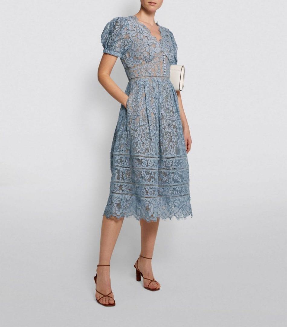 SELF-PORTRAIT Corded Lace Midi Dress