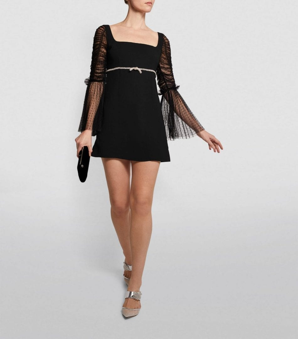 SELF-PORTRAIT Mesh-Sleeve Dress