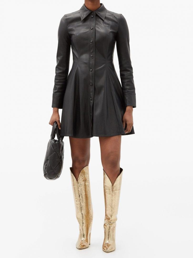 STAND STUDIO Nara Faux-leather Mini Shirt Dress
