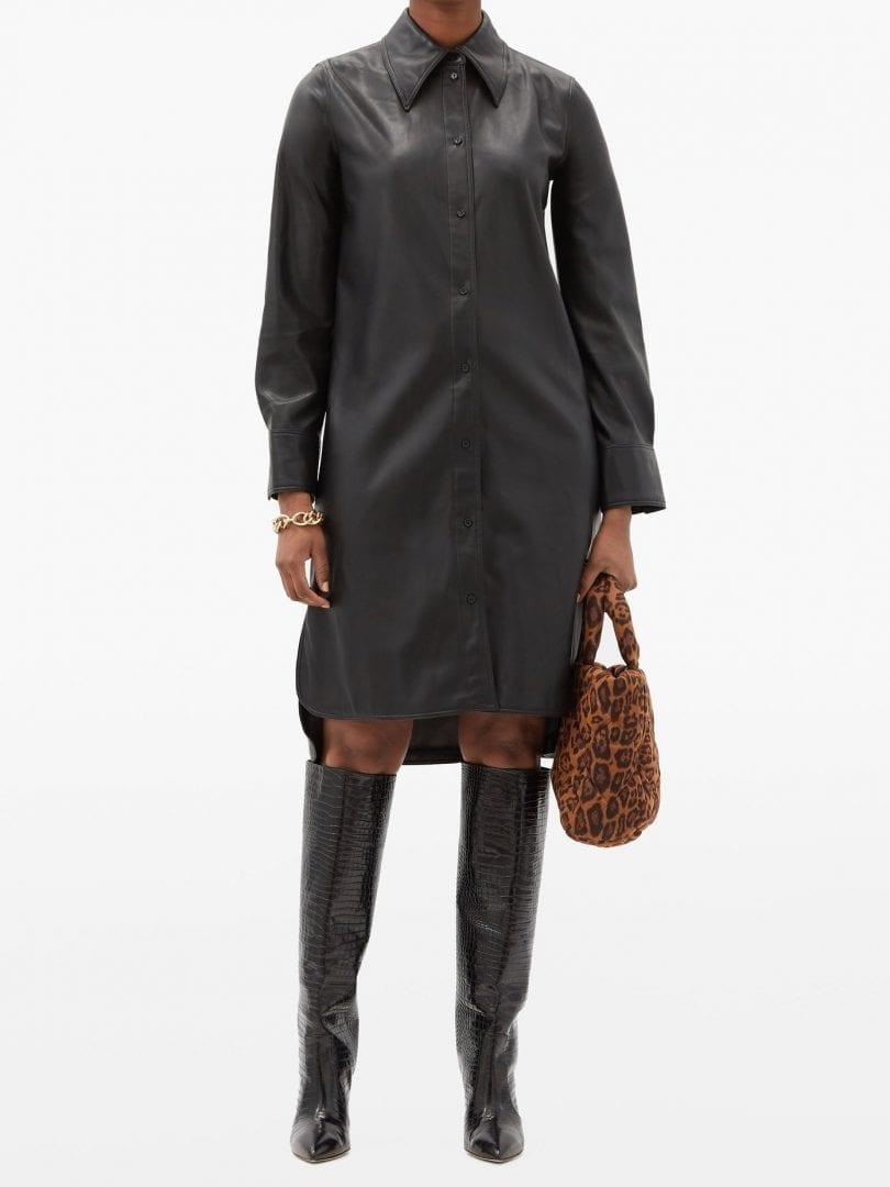 STAND STUDIO Remi Faux-leather Shirt Dress