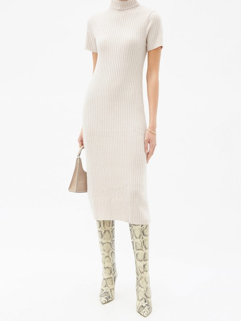 STAUD Lilou Roll-neck Ribbed Wool-blend Sweater Dress