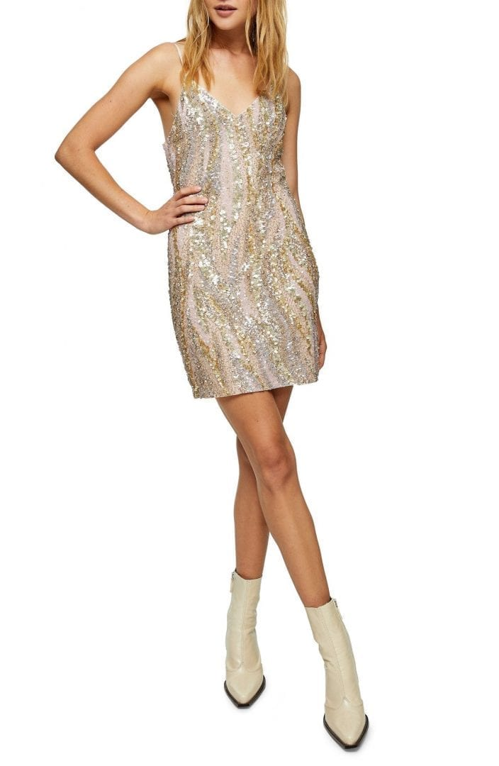 TOPSHOP Evelyn Sequin Mini Slip Dress