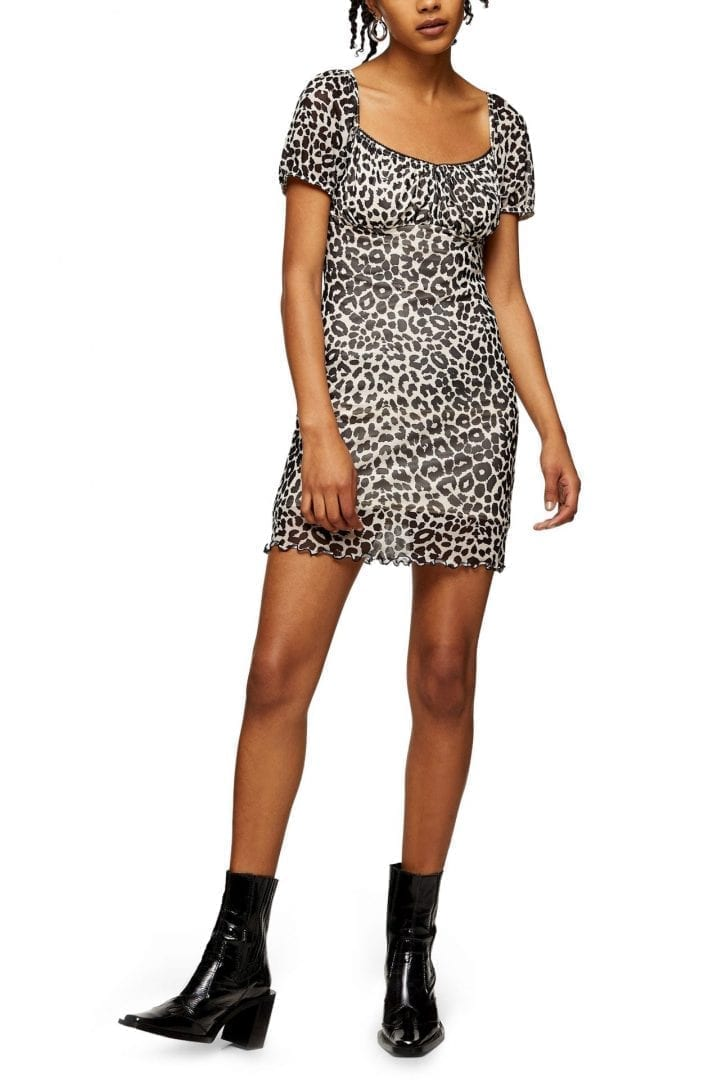 TOPSHOP Leopard Ruffle Hem Mesh Mini Dress