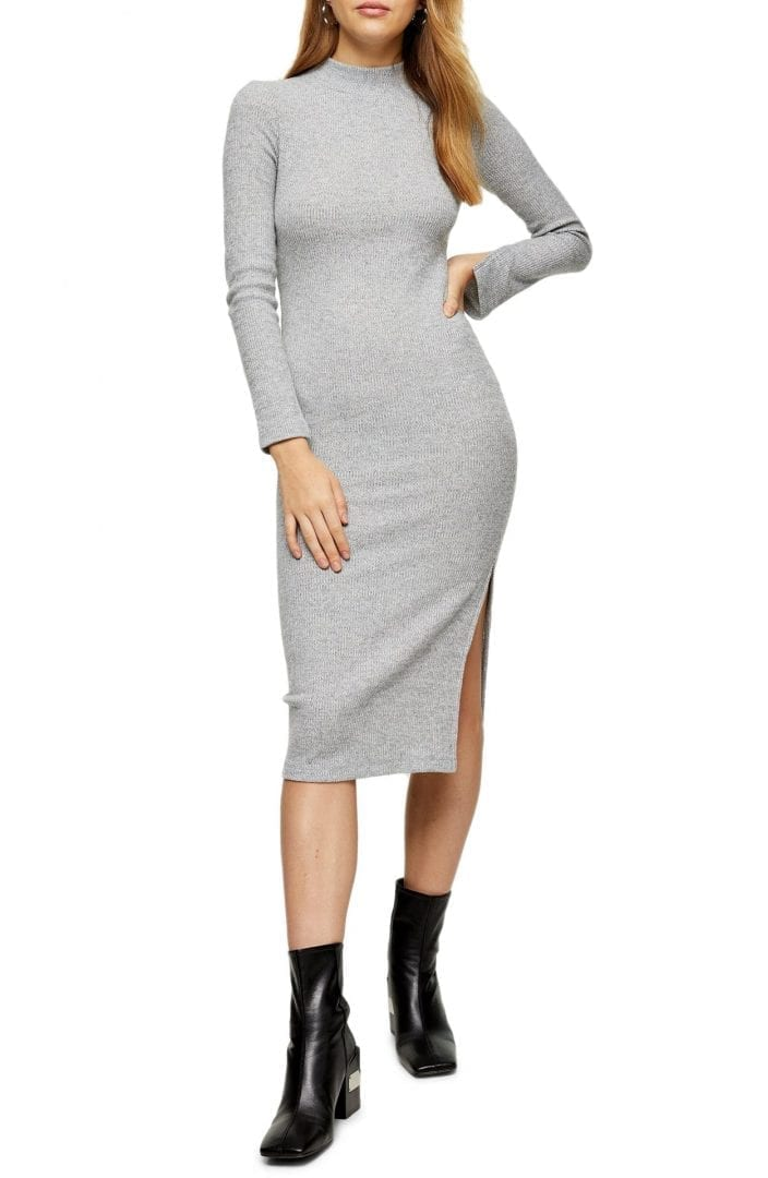 TOPSHOP Ribbed Long Sleeve Midi Dress