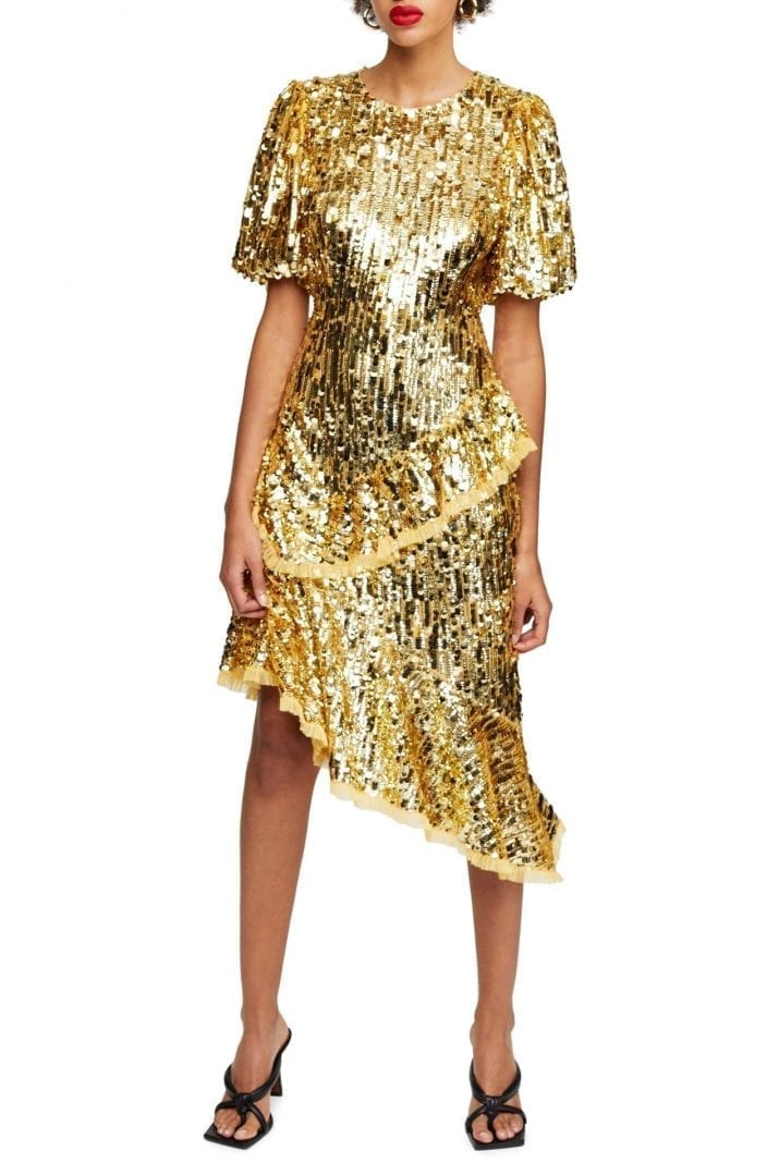 TOPSHOP Sequin Ruffle Dress