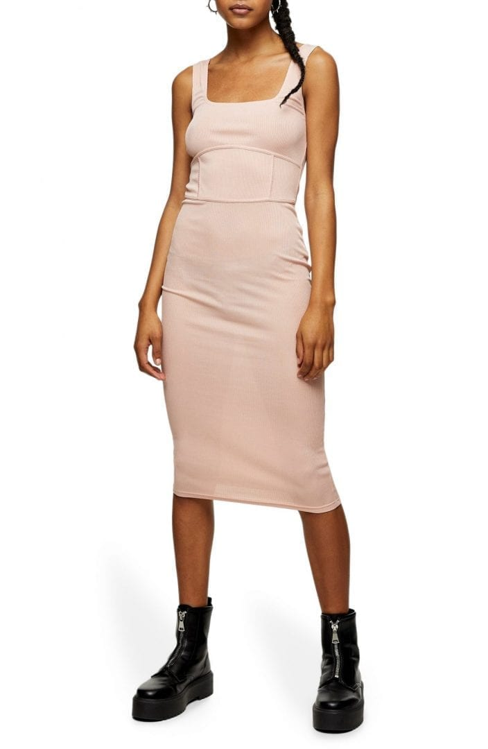 TOPSHOP Sleeveless Seamed Body-Con Midi Dress