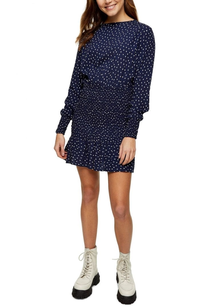 TOPSHOP Spot Shirred Long Sleeve Mini Dress