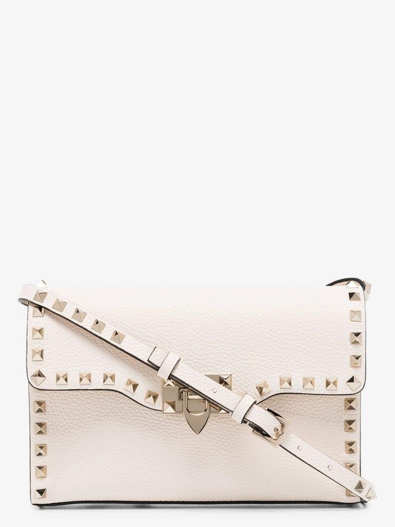 VALENTINO GARAVANI White Rockstud Leather Shoulder Bag