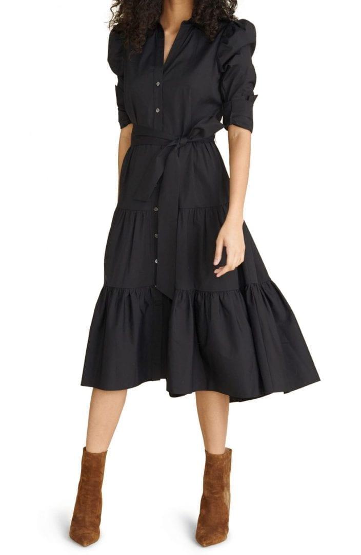 VERONICA BEARD Zeila Tie Waist Long Sleeve Shirt Dress