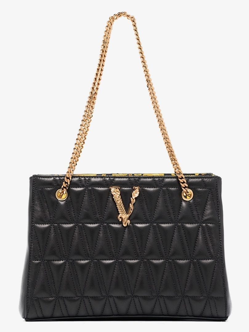 VERSACE Black Virtus Quilted Leather Tote Bag