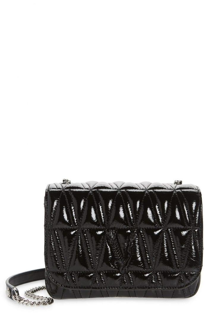 VERSACE FIRST LINE Versace Virtus Matelassé Patent Leather Shoulder Bag