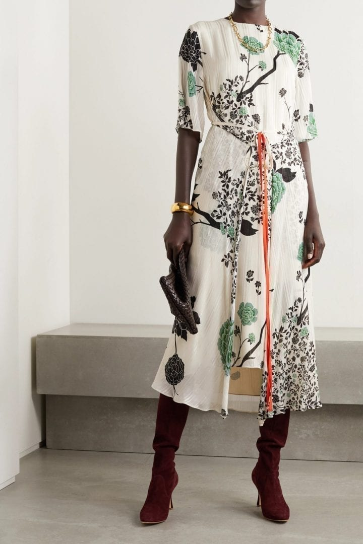 VICTORIA BECKHAM Belted Floral-print Crepon Midi Dress