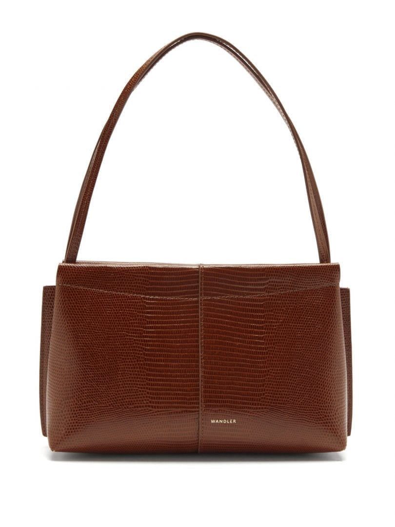 WANDLER Carly Small Lizard-effect Leather Shoulder Bag