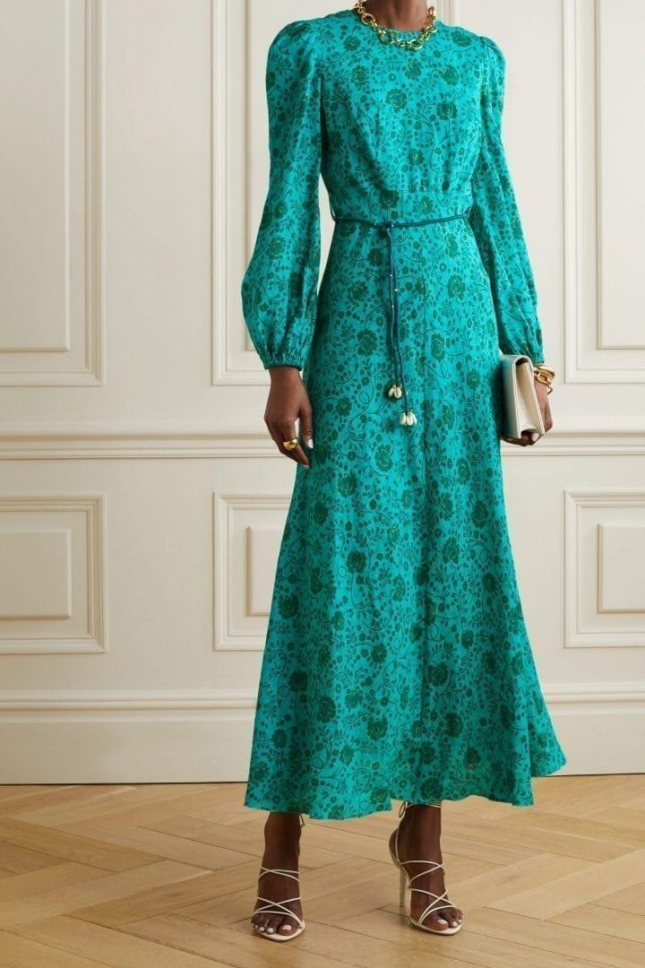 ZIMMERMANN Lulu Belted Floral-print Linen Midi Dress