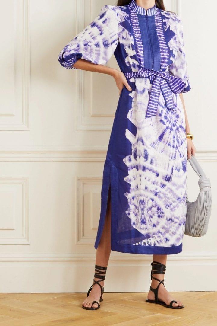 ZIMMERMANN Lulu Belted Tie-dyed Linen Midi Dress