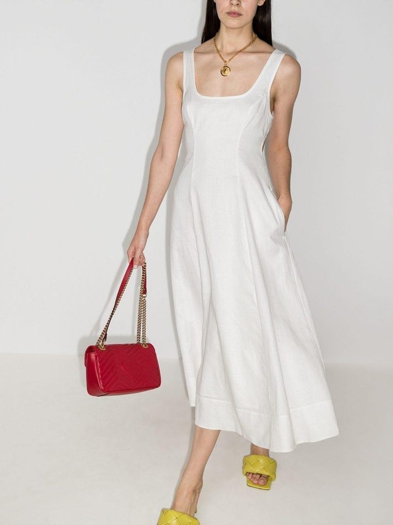 ZIMMERMANN Lulu Open Back Linen Midi Dress