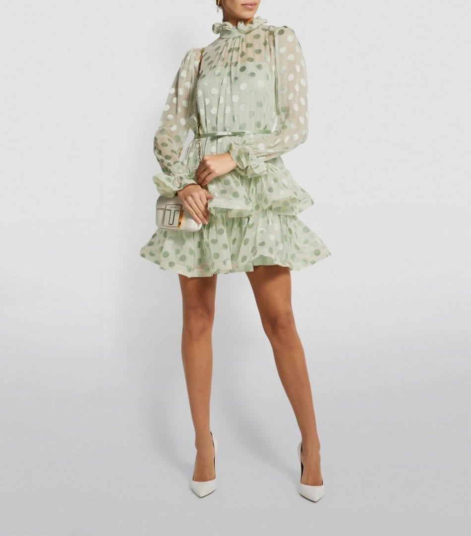 ZIMMERMANN Polka-Dot Lovestruck Fluted Mini Dress