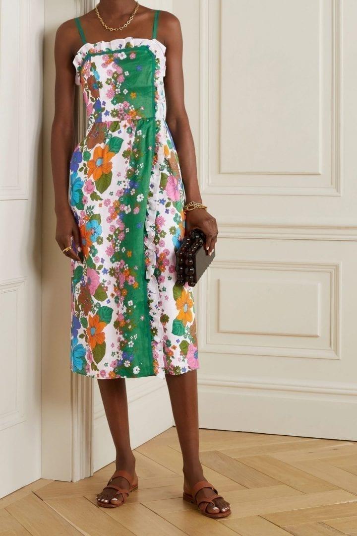 ZIMMERMANN Riders Ruffled Floral-print Linen Midi Dress