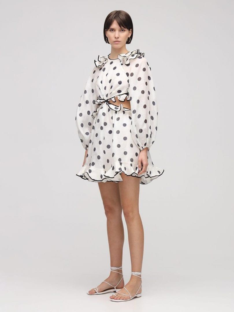 ZIMMERMANN The Lovestruck Ruffled Linen Mini Dress