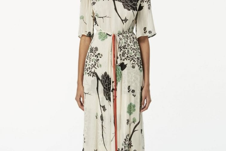 We Select ...VICTORIA BECKHAM Belted Floral-print Crepon Midi Dress